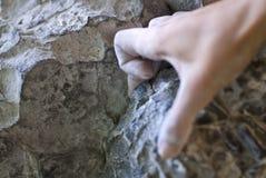 Hand des Bergsteigers Stockfotos
