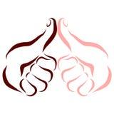 Hand des dunkelhäutigen Mannes und Hand des angemessen-enthäuteten Mannes, Daumen oben lizenzfreie abbildung