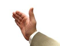Hand des Geschäftsmannes dehnte für Handerschütterung aus. stockbilder