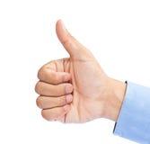 Hand des Geschäftsmannes mit dem Daumen lizenzfreie stockfotografie