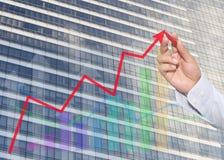 Hand des Geschäftsmannes unter Verwendung des roten Stiftes zeigend auf Spitzengeschäftsdiagramm lizenzfreie stockfotos