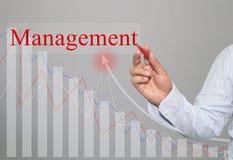 Hand des Geschäftsmannes Write ein Text des Managements lizenzfreie stockbilder