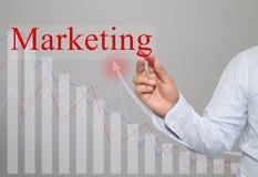 Hand des Geschäftsmannes Write ein Text des Marketings Lizenzfreies Stockbild