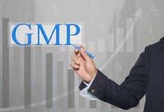 Hand des Geschäftsmannes Write ein Text von GMP stockbild