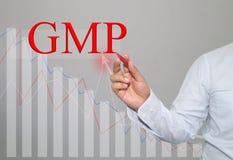 Hand des Geschäftsmannes Write ein Text von GMP stockfotos