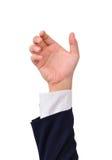 Hand des Geschäftsmannes, zum der verschiedenen Nachrichten anzuhalten Lizenzfreie Stockfotos