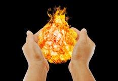 Hand des magischen Feuers. Lizenzfreie Stockfotos