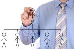Hand des Mannes, die einen Organisationsplan zeichnet Lizenzfreies Stockfoto