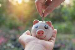 Hand des Mannes Münze und Tropfen in das Sparschwein halten Flosse auf Lager Lizenzfreie Stockfotografie