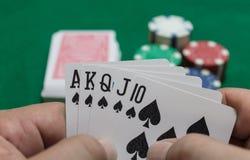 Hand des Schürhakens, Royal Flush von Spaten, Chips auf grünem Hintergrund lizenzfreie stockbilder
