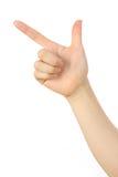 Hand des Zeigens des Zeichens Stockfoto