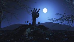 Hand des Zombies 3D, die aus dem Boden heraus birst Stockfoto