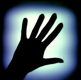 Hand Design. Body part - hand on a blue glowing background Royalty Free Stock Images