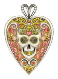 Art design heart mix skull pendant. Hand design skull drawing and painting on paper Stock Photos