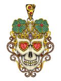 Art design vintage mix skull pendant. Royalty Free Stock Image