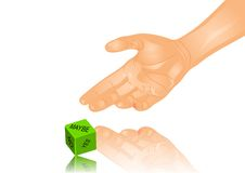 Hand and dice Stock Photos