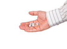 The hand with the dice Royalty Free Stock Images