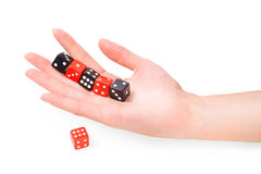 Hand with dices Stock Photos