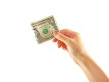 Hand die één dollar van de V.S. geïsoleerdm houdt Stock Foto's