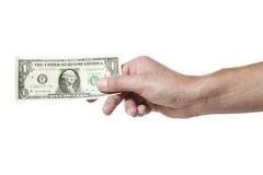 Hand die één dollarrekening houdt Royalty-vrije Stock Foto's