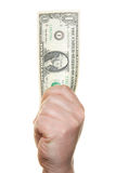Hand die één dollarrekening houdt Stock Fotografie