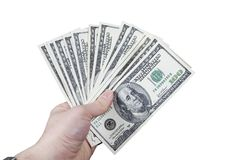 Hand, die 100 Dollarscheine anhält Stockbilder