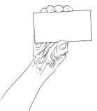 Hand die adreskaartje, gedetailleerde zwart-witte lijnenvecto tonen Stock Fotografie