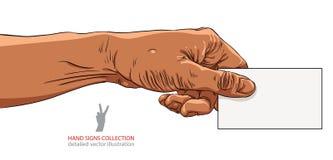 Hand die adreskaartje, het Afrikaanse behoren tot een bepaald ras, gedetailleerd vectoril geven Royalty-vrije Stock Afbeeldingen