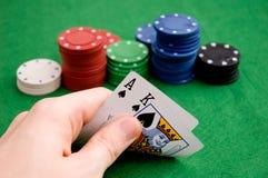 Hand, die AK aufdeckt Lizenzfreies Stockfoto