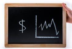 Hand, die amerikanisches Dollarwertdiagramm auf einer Tafel auf weißem Hintergrund hält stockfotos