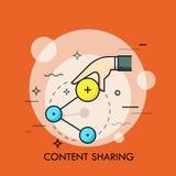 Hand, die Anteilikone hält Konzept des on-line-Informationssendens und des Internet-Datenaustausches, Social Networking-Service Stockfoto