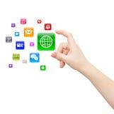 Hand, die Anwendung wählt Lizenzfreie Stockfotos