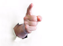 Hand, die auf Beobachter zeigt Lizenzfreie Stockfotos