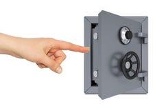 Hand, die auf das offene Safe zeigt Lizenzfreie Stockfotografie