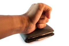 Hand, die auf der Geldbörse stillsteht Stockbild