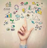 Hand, die auf Geschäftsideenkonzepte zeigt lizenzfreies stockfoto