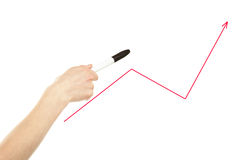 Hand, die auf Tendenzzeile zeigt Lizenzfreie Stockfotos
