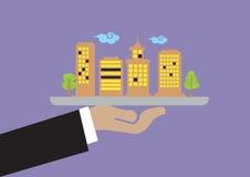 Hand, die Behälter mit Gebäude-Vektor-Illustration hält Lizenzfreie Stockfotografie