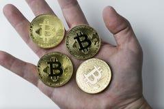 Hand die bitcoin vier op een witte achtergrond houden Royalty-vrije Stock Fotografie