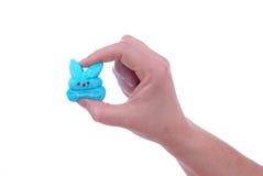 Hand, die blaue Häschenostern-Süßigkeit zerquetscht Lizenzfreie Stockfotos