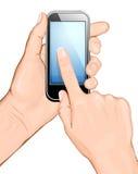Hand die cellulaire telefoon en wat betreft de puinkegel houdt Royalty-vrije Stock Afbeelding