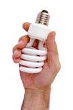Hand die compacte lamp houdt royalty-vrije stock foto's