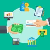 Hand die creditcard, vectorillustratie geven Royalty-vrije Stock Afbeelding