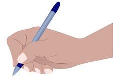 Hand, die das Dokument kennzeichnet Stockbilder