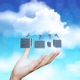 Hand, die Datenverarbeitungsdiagramm der Wolke 3d zeigt Lizenzfreie Stockbilder