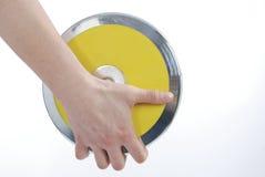 Hand die de discus houdt Royalty-vrije Stock Foto