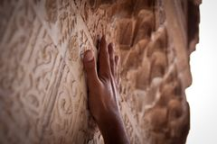 Hand die de goden bereikt Stock Foto