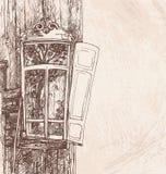 Hand die de houten vectorillustratie van de venster retro stijl trekken Stock Foto's