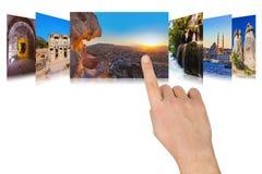 Hand die de reisbeelden scrollen van Turkije Royalty-vrije Stock Foto's