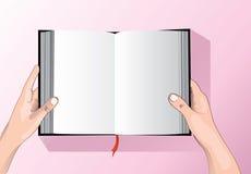 Hand die de vector van het boeksymbool houden Stock Fotografie
